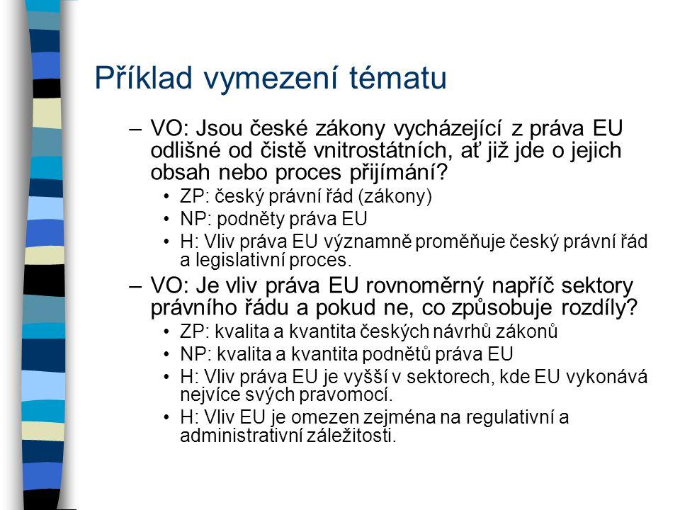 Příklad vymezení tématu –VO: Jsou české zákony vycházející z práva EU odlišné od čistě vnitrostátních, ať již jde o jejich obsah nebo proces přijímání