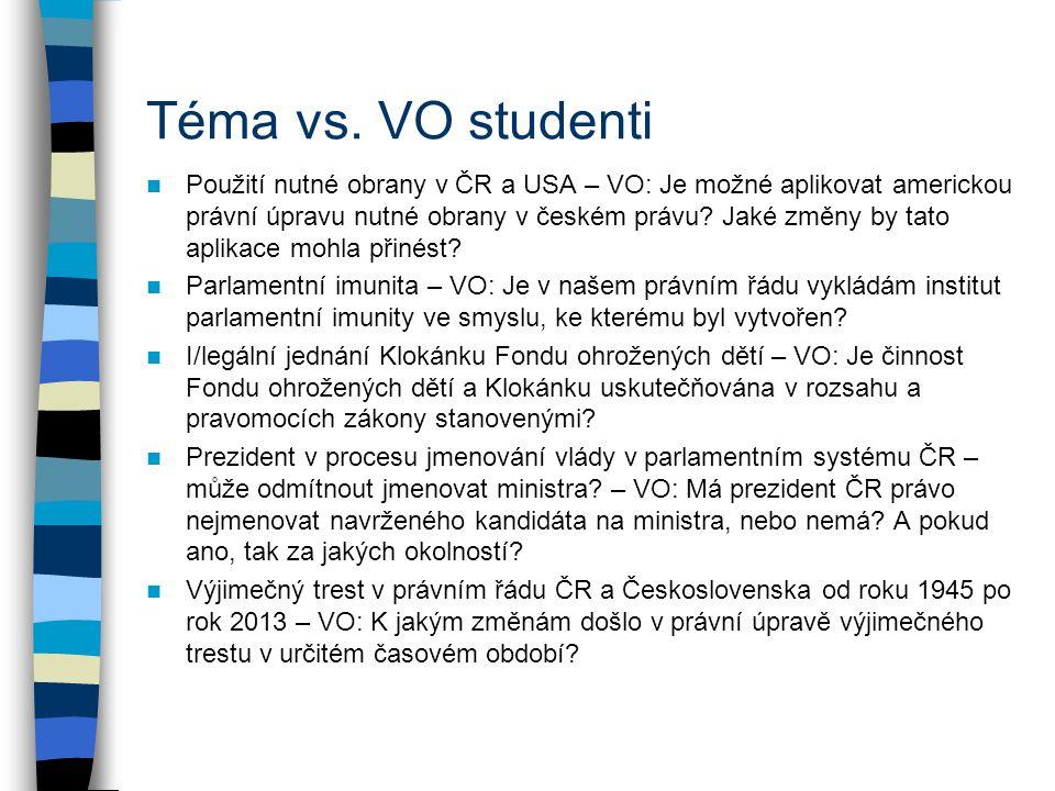 Téma vs. VO studenti Použití nutné obrany v ČR a USA – VO: Je možné aplikovat americkou právní úpravu nutné obrany v českém právu? Jaké změny by tato