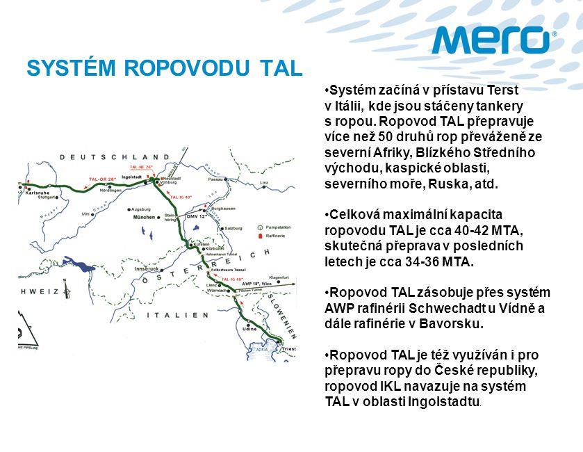 SYSTÉM ROPOVODU TAL Systém začíná v přístavu Terst v Itálii, kde jsou stáčeny tankery s ropou. Ropovod TAL přepravuje více než 50 druhů rop převáženě