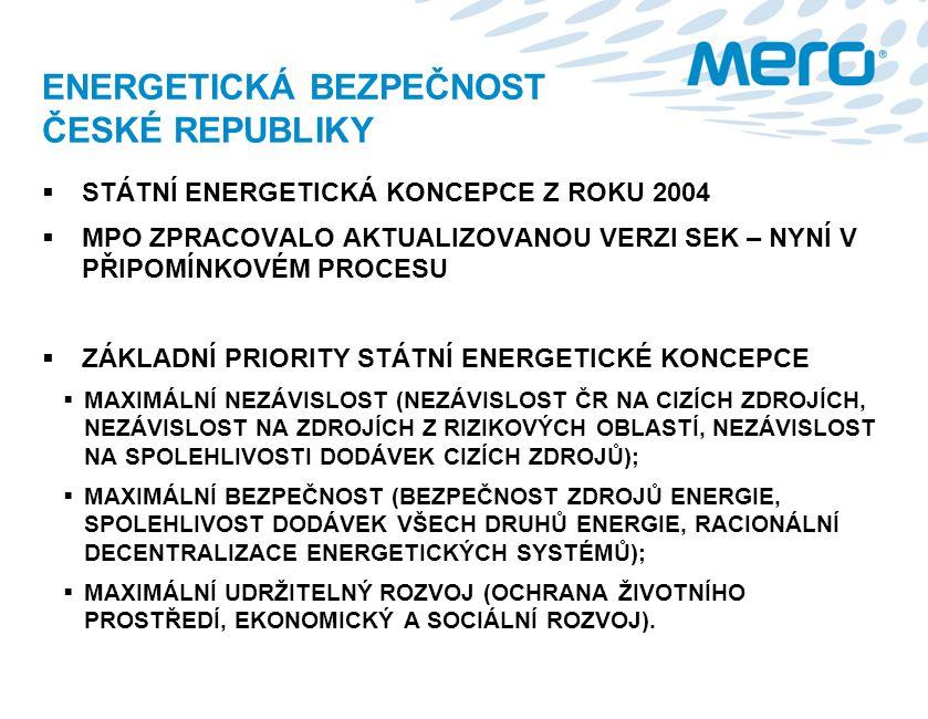 ENERGETICKÁ BEZPEČNOST ČESKÉ REPUBLIKY  STÁTNÍ ENERGETICKÁ KONCEPCE Z ROKU 2004  MPO ZPRACOVALO AKTUALIZOVANOU VERZI SEK – NYNÍ V PŘIPOMÍNKOVÉM PROC