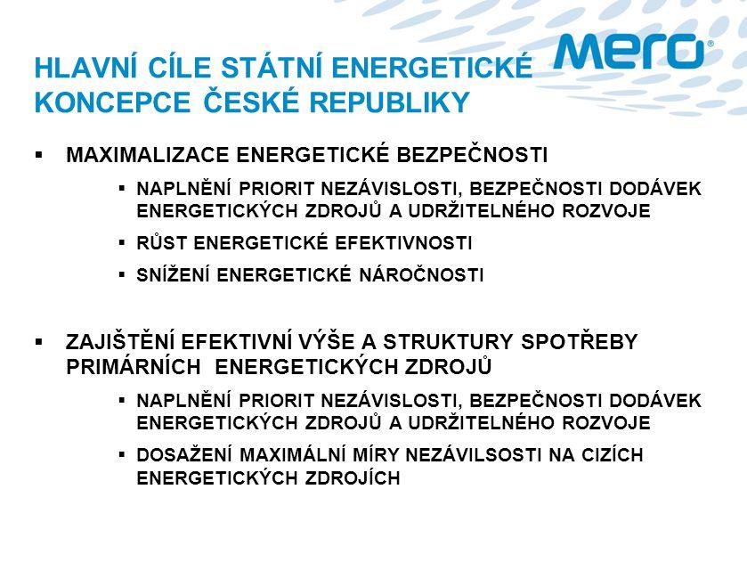 HLAVNÍ CÍLE STÁTNÍ ENERGETICKÉ KONCEPCE ČESKÉ REPUBLIKY  MAXIMALIZACE ENERGETICKÉ BEZPEČNOSTI  NAPLNĚNÍ PRIORIT NEZÁVISLOSTI, BEZPEČNOSTI DODÁVEK EN