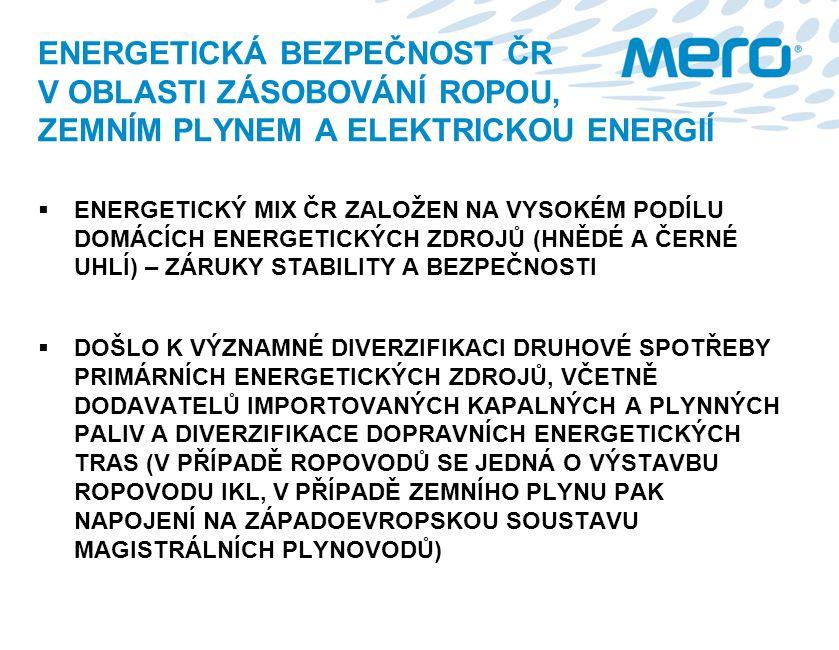 ENERGETICKÁ BEZPEČNOST ČR V OBLASTI ZÁSOBOVÁNÍ ROPOU, ZEMNÍM PLYNEM A ELEKTRICKOU ENERGIÍ  ENERGETICKÝ MIX ČR ZALOŽEN NA VYSOKÉM PODÍLU DOMÁCÍCH ENER