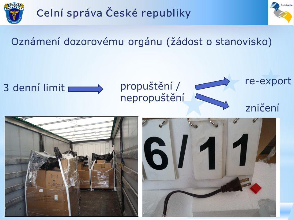 Celní správa České republiky www.celnisprava.cz Oznámení dozorovému orgánu (žádost o stanovisko) 3 denní limit propuštění / nepropuštění re-export zničení