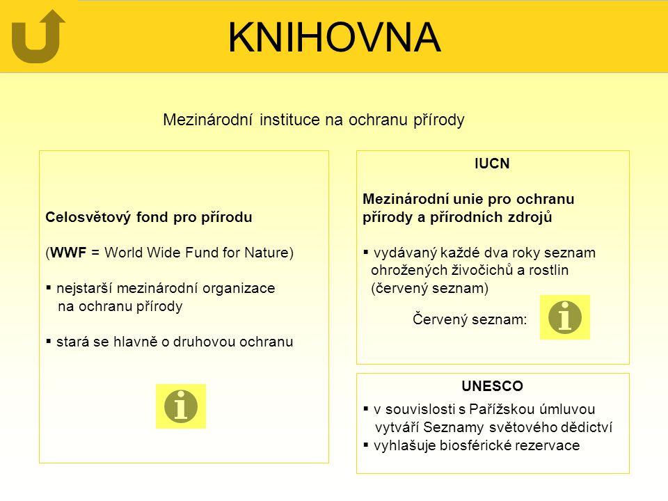 KNIHOVNA Mezinárodní instituce na ochranu přírody Celosvětový fond pro přírodu (WWF = World Wide Fund for Nature)  nejstarší mezinárodní organizace n