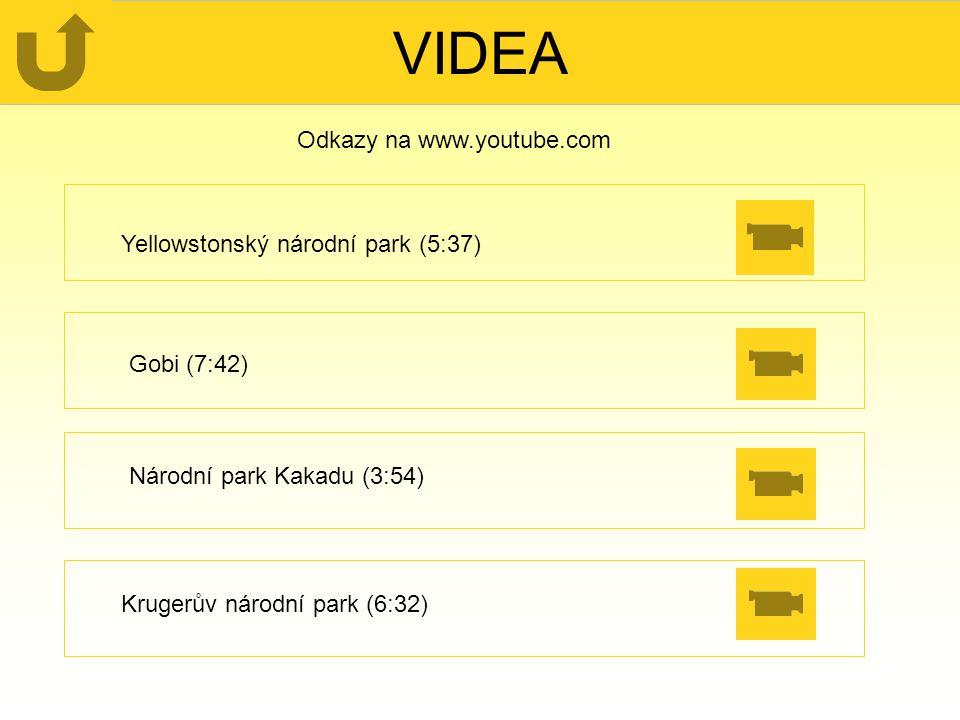 VIDEA Národní park Kakadu (3:54) Gobi (7:42) Yellowstonský národní park (5:37) Krugerův národní park (6:32) Odkazy na www.youtube.com