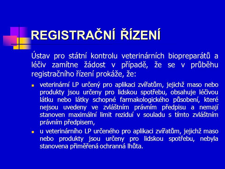 Ústav pro státní kontrolu veterinárních biopreparátů a léčiv zamítne žádost v případě, že se v průběhu registračního řízení prokáže, že: REGISTRAČNÍ ŘÍZENÍ veterinární LP určený pro aplikaci zvířatům, jejichž maso nebo produkty jsou určeny pro lidskou spotřebu, obsahuje léčivou látku nebo látky schopné farmakologického působení, které nejsou uvedeny ve zvláštním právním předpisu a nemají stanoven maximální limit reziduí v souladu s tímto zvláštním právním předpisem, u veterinárního LP určeného pro aplikaci zvířatům, jejichž maso nebo produkty jsou určeny pro lidskou spotřebu, nebyla stanovena přiměřená ochranná lhůta.