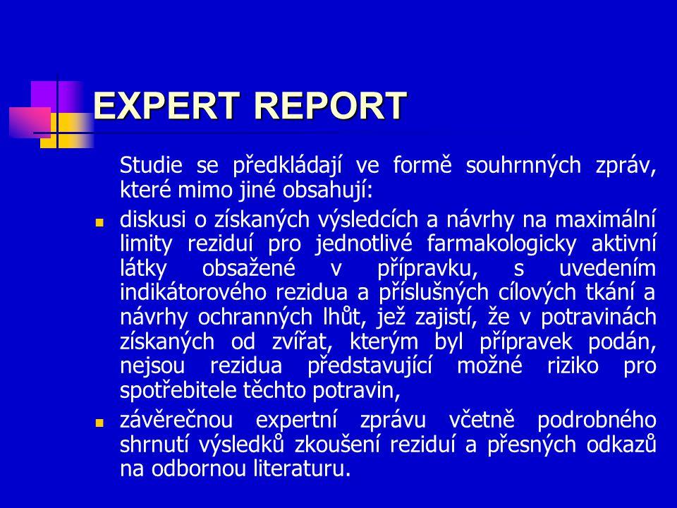 EXPERT REPORT Studie se předkládají ve formě souhrnných zpráv, které mimo jiné obsahují: diskusi o získaných výsledcích a návrhy na maximální limity reziduí pro jednotlivé farmakologicky aktivní látky obsažené v přípravku, s uvedením indikátorového rezidua a příslušných cílových tkání a návrhy ochranných lhůt, jež zajistí, že v potravinách získaných od zvířat, kterým byl přípravek podán, nejsou rezidua představující možné riziko pro spotřebitele těchto potravin, závěrečnou expertní zprávu včetně podrobného shrnutí výsledků zkoušení reziduí a přesných odkazů na odbornou literaturu.