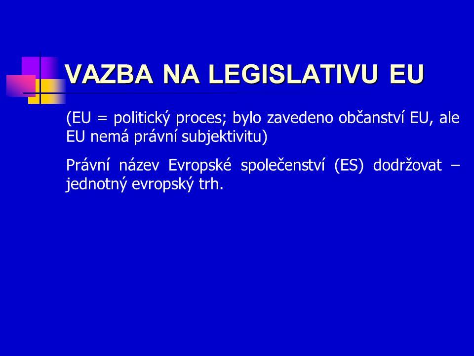 VAZBA NA LEGISLATIVU EU (EU = politický proces; bylo zavedeno občanství EU, ale EU nemá právní subjektivitu) Právní název Evropské společenství (ES) dodržovat – jednotný evropský trh.
