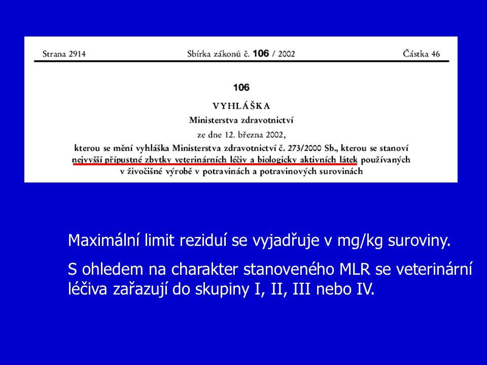 Maximální limit reziduí se vyjadřuje v mg/kg suroviny. S ohledem na charakter stanoveného MLR se veterinární léčiva zařazují do skupiny I, II, III neb