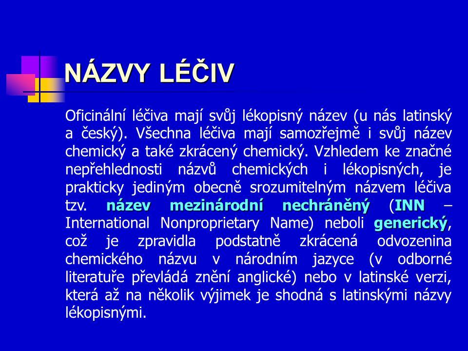 název mezinárodní nechráněný INN generický Oficinální léčiva mají svůj lékopisný název (u nás latinský a český). Všechna léčiva mají samozřejmě i svůj