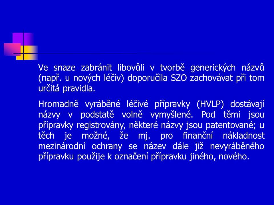 Ve snaze zabránit libovůli v tvorbě generických názvů (např.