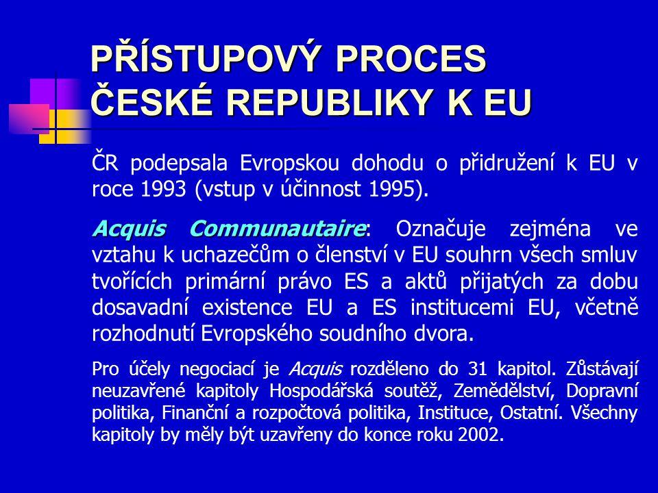 PŘÍSTUPOVÝ PROCES ČESKÉ REPUBLIKY K EU ČR podepsala Evropskou dohodu o přidružení k EU v roce 1993 (vstup v účinnost 1995). Acquis Communautaire Acqui