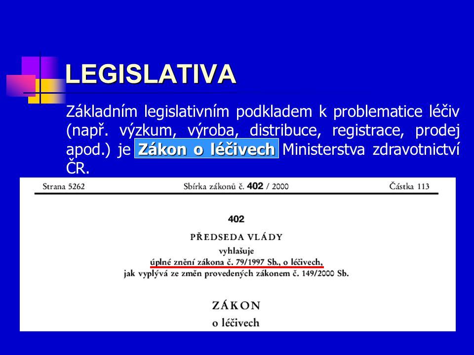 Zákon o léčivech Základním legislativním podkladem k problematice léčiv (např.