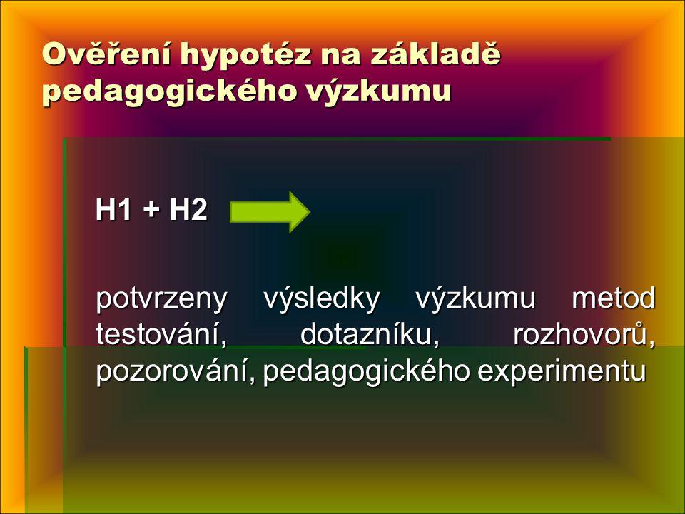 Ověření hypotéz na základě pedagogického výzkumu H1 + H2 H1 + H2 potvrzeny výsledky výzkumu metod testování, dotazníku, rozhovorů, pozorování, pedagogického experimentu potvrzeny výsledky výzkumu metod testování, dotazníku, rozhovorů, pozorování, pedagogického experimentu