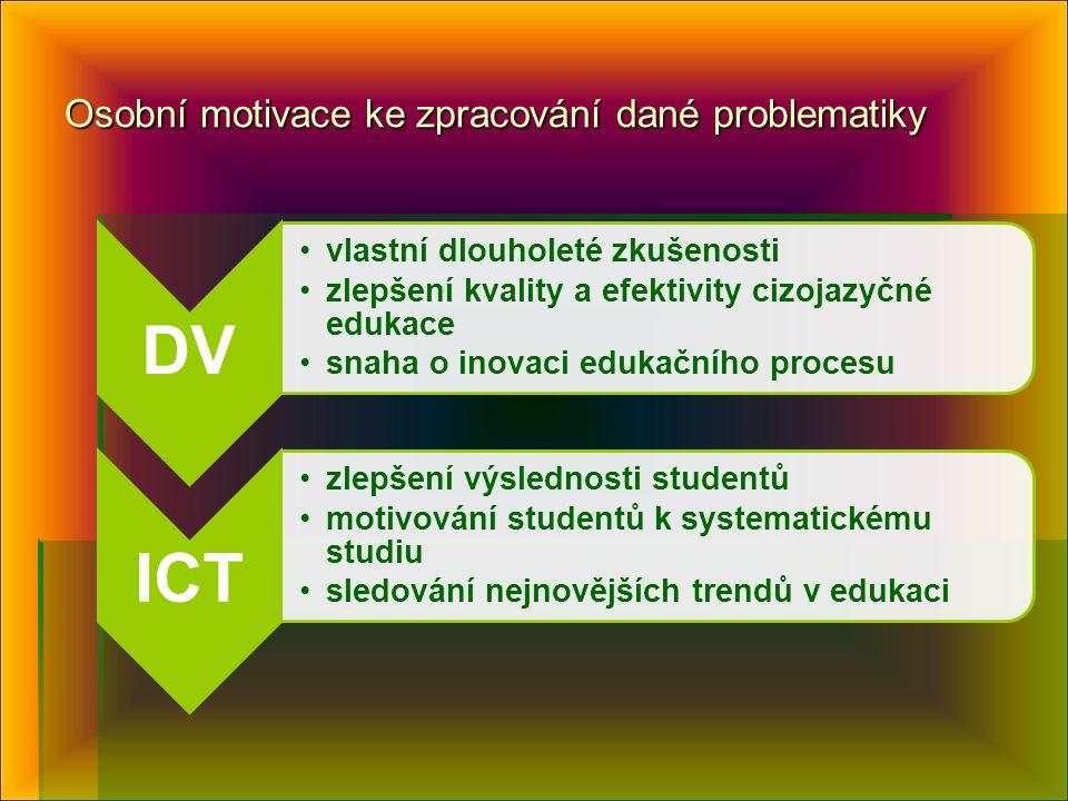 Osobní motivace ke zpracování dané problematiky DV vlastní dlouholeté zkušenosti zlepšení kvality a efektivity cizojazyčné edukace snaha o inovaci edukačního procesu ICT zlepšení výslednosti studentů motivování studentů k systematickému studiu sledování nejnovějších trendů v edukaci