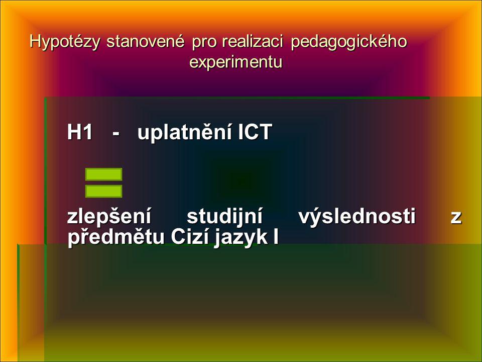 Hypotézy stanovené pro realizaci pedagogického experimentu H1 - uplatnění ICT H1 - uplatnění ICT zlepšení studijní výslednosti z předmětu Cizí jazyk I zlepšení studijní výslednosti z předmětu Cizí jazyk I