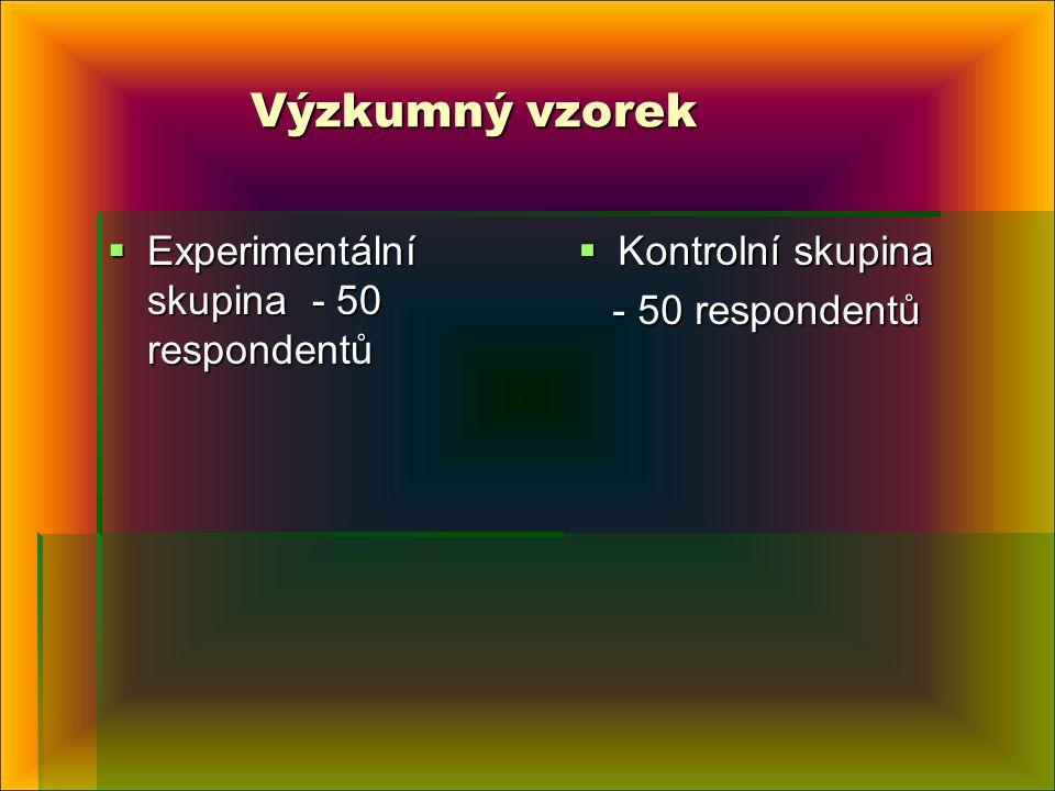 Výzkumný vzorek Výzkumný vzorek  Experimentální skupina - 50 respondentů  Kontrolní skupina - 50 respondentů - 50 respondentů