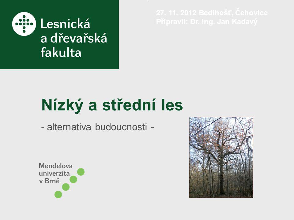 Možnosti opětovného zavádění nízkých a středních lesů v ČR 1.Zpětný převod (především nepravých kmenovin) – lesa vysokého nebo středního na les nízký, – lesa vysokého na les střední.