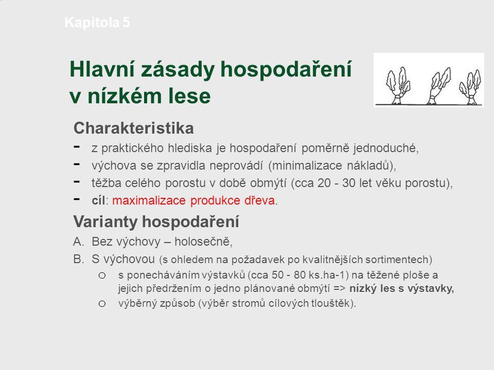 Hlavní zásady hospodaření v nízkém lese Charakteristika - z praktického hlediska je hospodaření poměrně jednoduché, - výchova se zpravidla neprovádí (