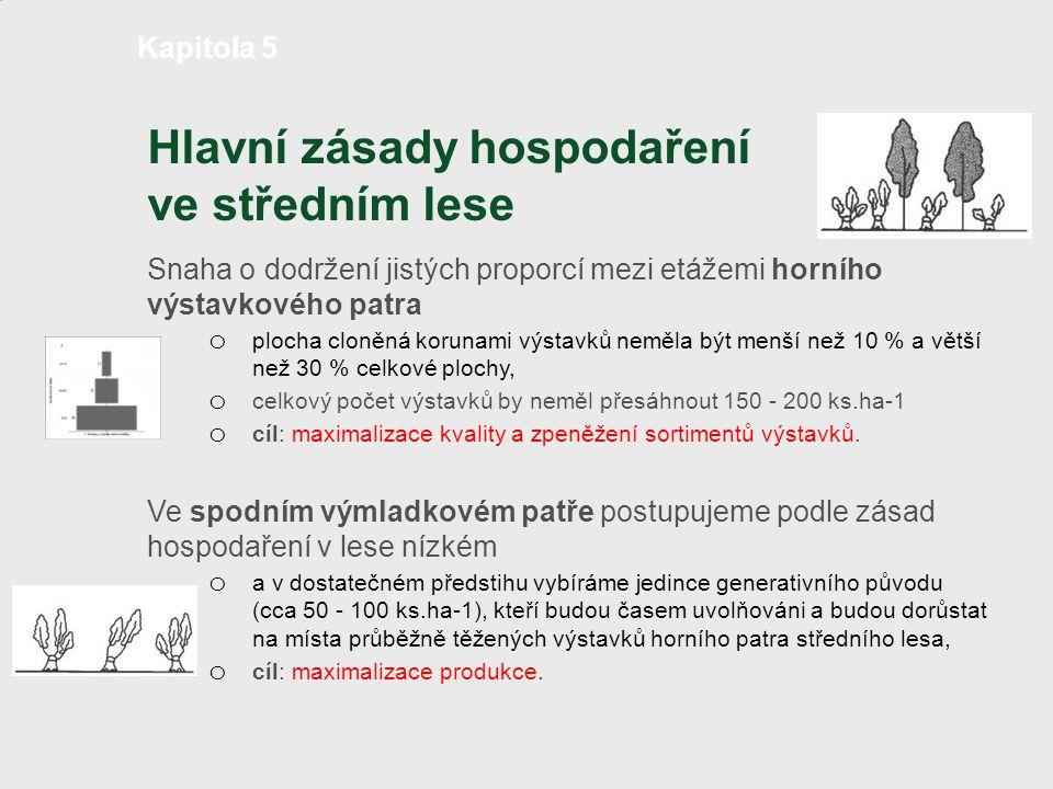 Hlavní zásady hospodaření ve středním lese Snaha o dodržení jistých proporcí mezi etážemi horního výstavkového patra o plocha cloněná korunami výstavk