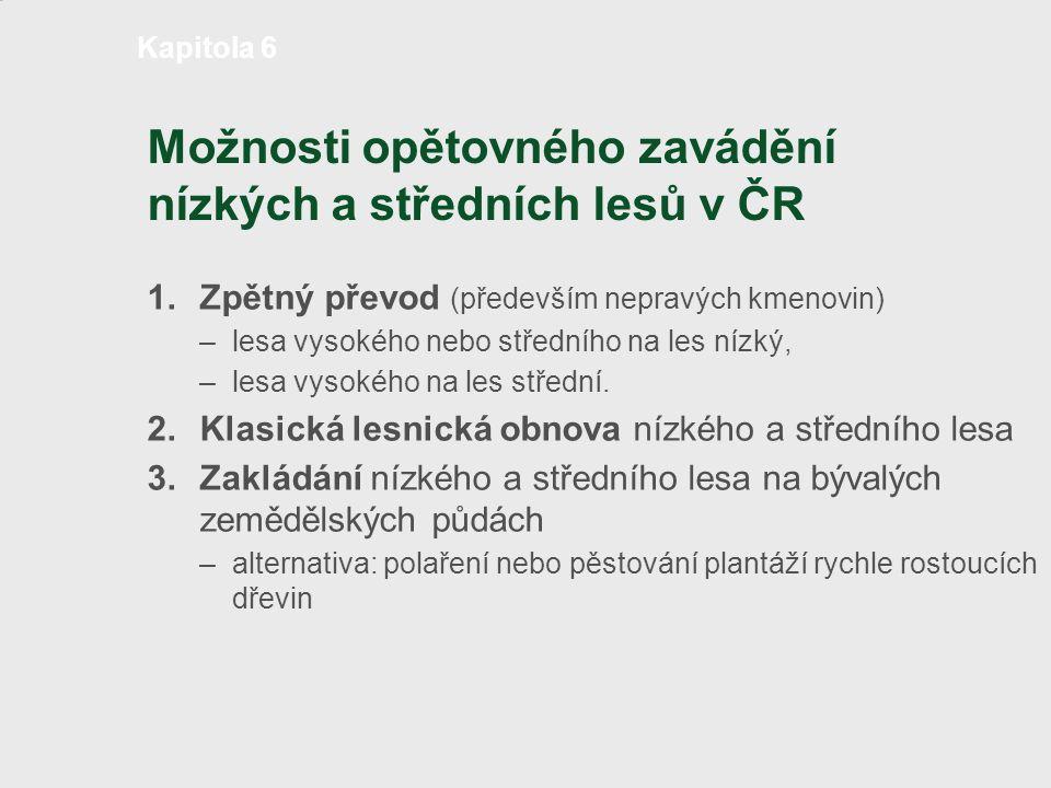 Možnosti opětovného zavádění nízkých a středních lesů v ČR 1.Zpětný převod (především nepravých kmenovin) – lesa vysokého nebo středního na les nízký,