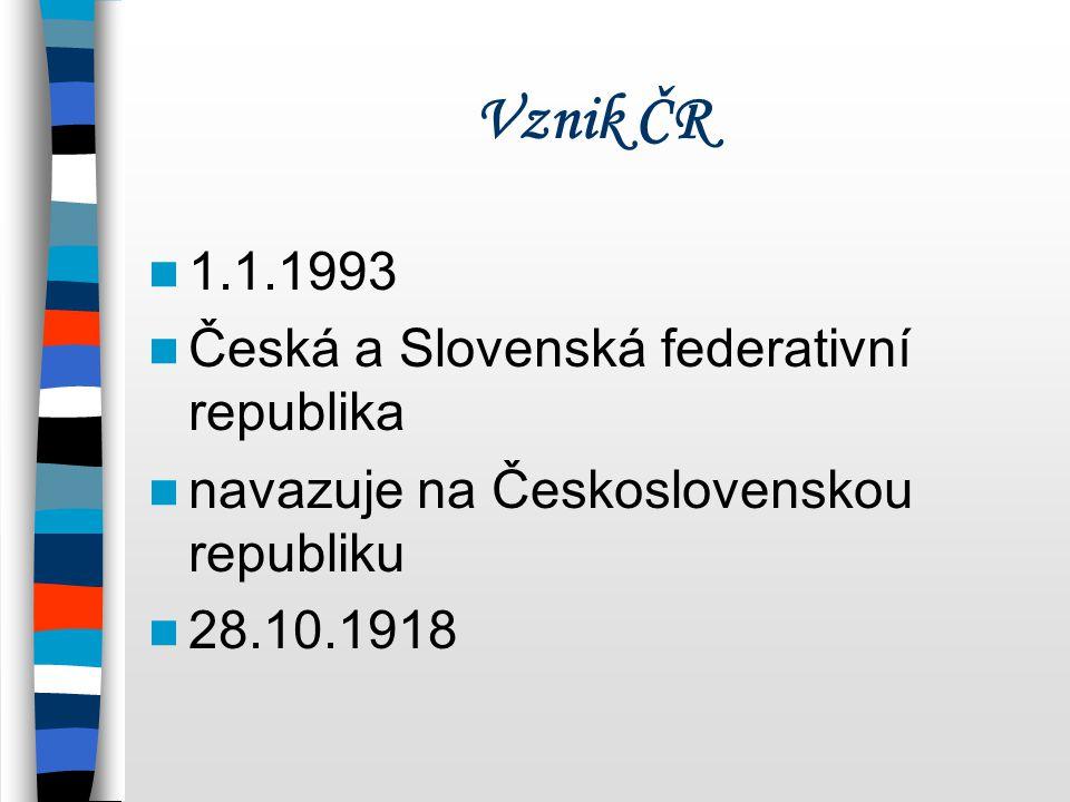 Vznik ČR 1.1.1993 Česká a Slovenská federativní republika navazuje na Československou republiku 28.10.1918