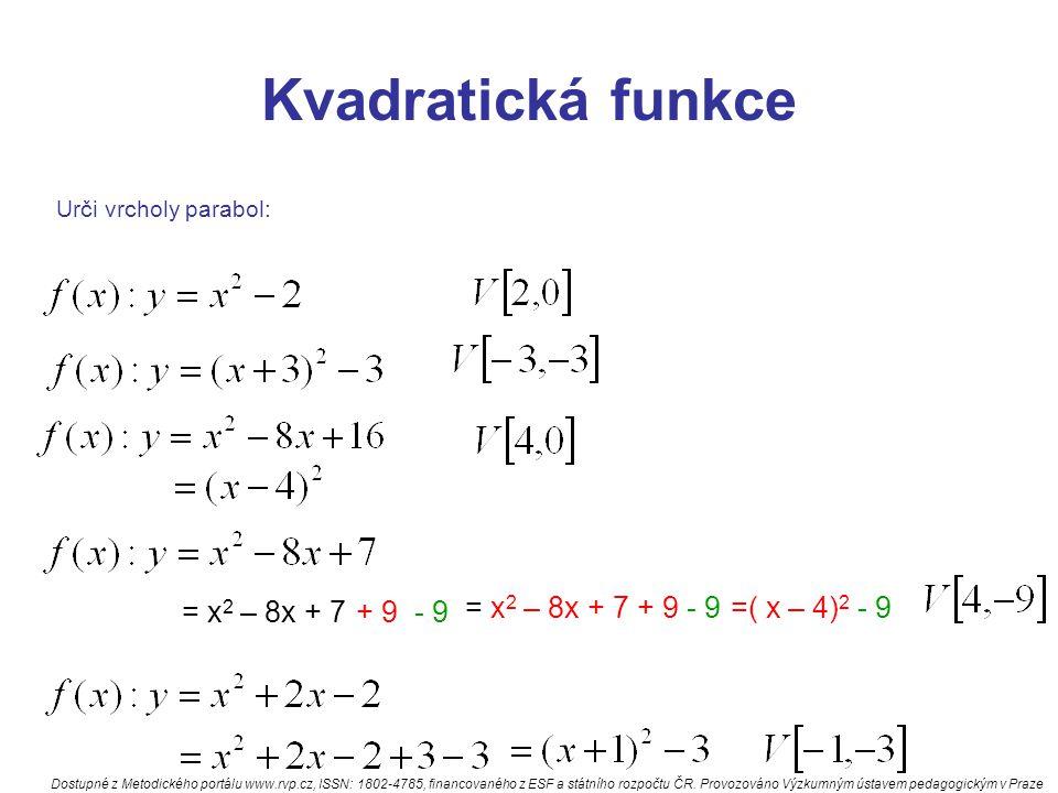 Kvadratická funkce Urči vrcholy parabol: = x 2 – 8x + 7+ 9- 9 = x 2 – 8x + 7 + 9 - 9=( x – 4) 2 - 9 Dostupné z Metodického portálu www.rvp.cz, ISSN: 1802-4785, financovaného z ESF a státního rozpočtu ČR.
