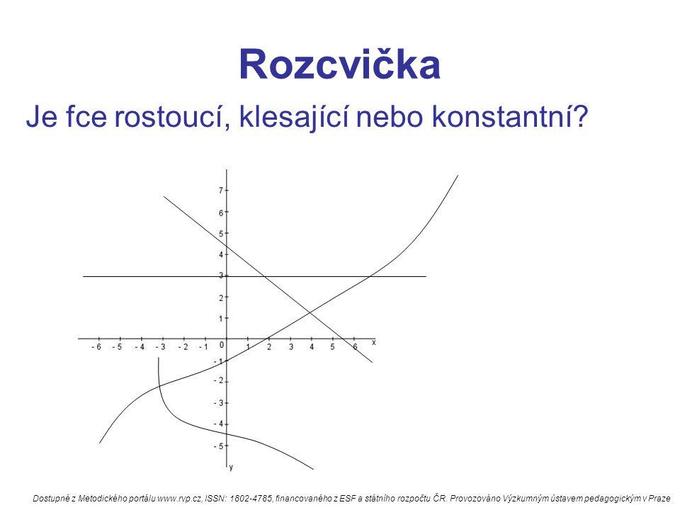 Rozcvička Je fce rostoucí, klesající nebo konstantní? Dostupné z Metodického portálu www.rvp.cz, ISSN: 1802-4785, financovaného z ESF a státního rozpo