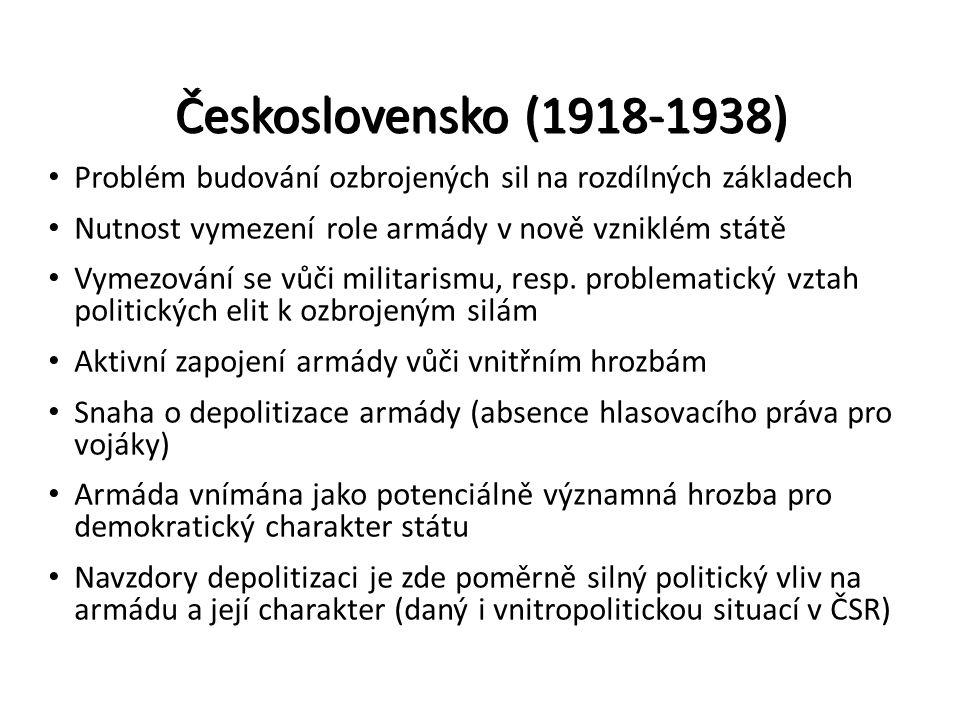 Československo (1918-1938) Problém budování ozbrojených sil na rozdílných základech Nutnost vymezení role armády v nově vzniklém státě Vymezování se v