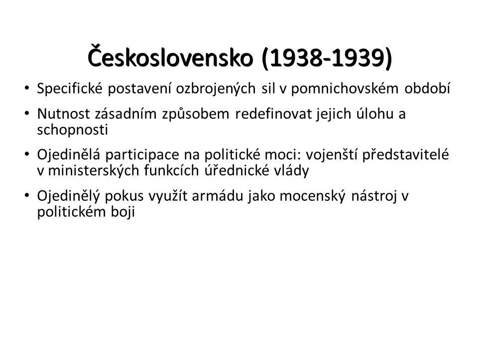 Československo (1938-1939) Specifické postavení ozbrojených sil v pomnichovském období Nutnost zásadním způsobem redefinovat jejich úlohu a schopnosti