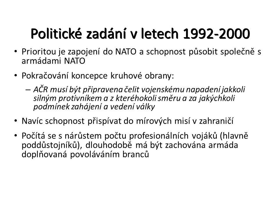 Politické zadání v letech 1992-2000 Prioritou je zapojení do NATO a schopnost působit společně s armádami NATO Pokračování koncepce kruhové obrany: –