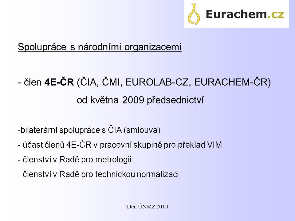 Spolupráce s národními organizacemi - člen 4E-ČR (ČIA, ČMI, EUROLAB-CZ, EURACHEM-ČR) od května 2009 předsednictví -bilaterární spolupráce s ČIA (smlou