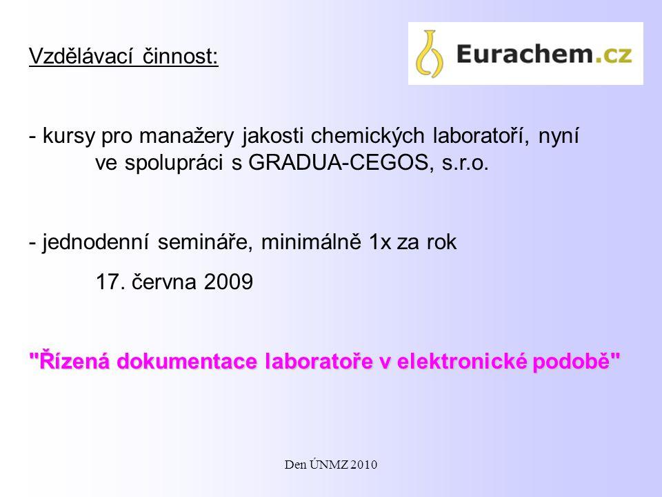 Vzdělávací činnost: - kursy pro manažery jakosti chemických laboratoří, nyní ve spolupráci s GRADUA-CEGOS, s.r.o. - jednodenní semináře, minimálně 1x