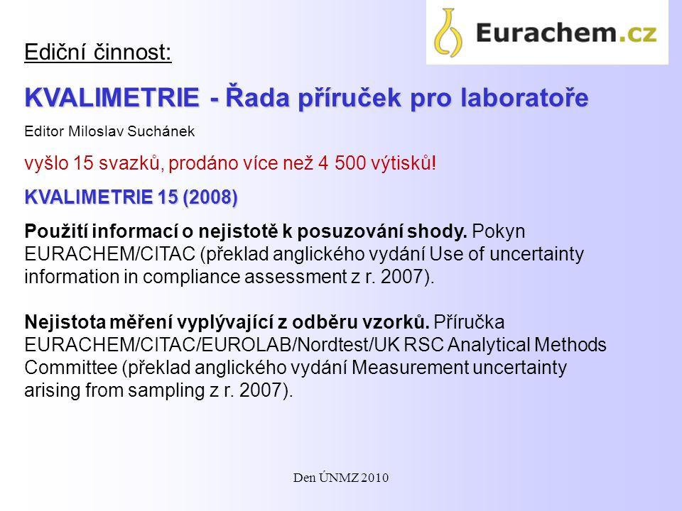 Další významné: KVALIMETRIE 14: Návaznost chemických měření (2004) KVALIMETRIE 13: Odhad nejistot chemických a mikrobiologických měření (2003) KVALIMETRIE 12: Průvodce jakostí v analytické chemii.