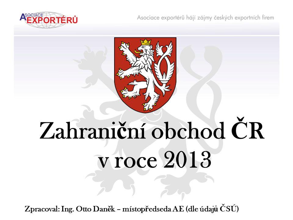 Zahrani č ní obchod Č R v roce 2013 Zpracoval: Ing. Otto Dan ě k – místop ř edseda AE (dle údaj ů Č SÚ)