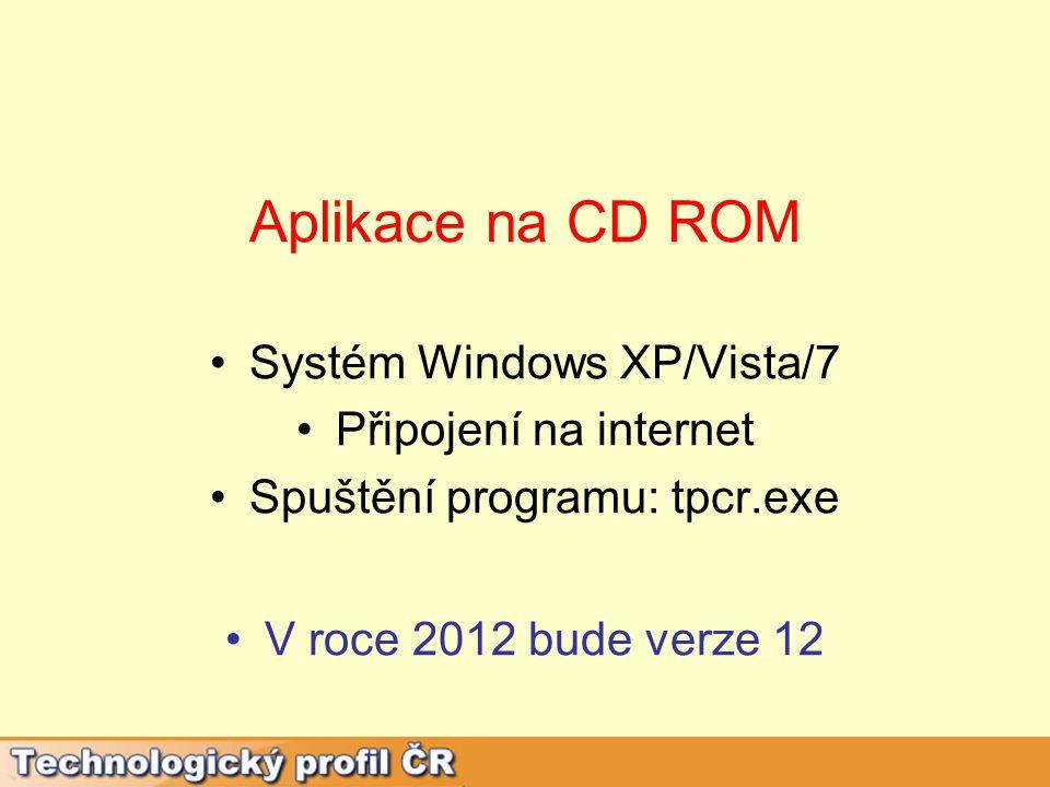 Aplikace na CD ROM Systém Windows XP/Vista/7 Připojení na internet Spuštění programu: tpcr.exe V roce 2012 bude verze 12