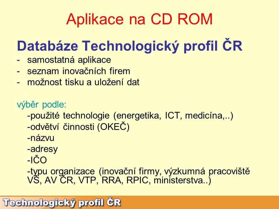 Aplikace na CD ROM Mezinárodní spolupráce ČR -programy VaV- na stránkách MŠMT- www.msmt.czwww.msmt.cz -projekt NICER III (Národní informační centrum pro evropský výzkum III – 2009-2012)- na stránkách www.fp7.cz/cz/nicer www.fp7.cz/cz/nicer -vybraní zahraniční partneři- EUREKA, ICC, ICSTI, TII