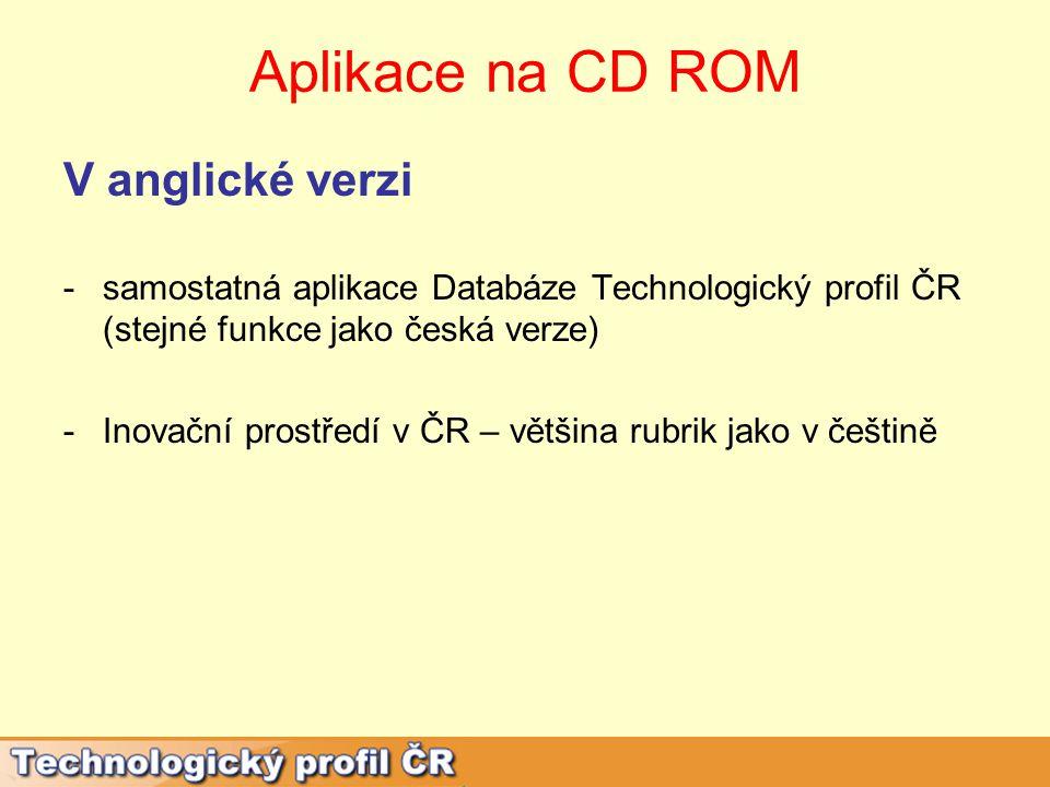 Aplikace na CD ROM V anglické verzi -samostatná aplikace Databáze Technologický profil ČR (stejné funkce jako česká verze) -Inovační prostředí v ČR – většina rubrik jako v češtině
