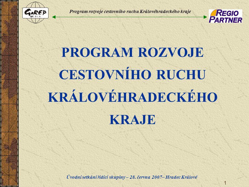 Program rozvoje cestovního ruchu Královéhradeckého kraje Úvodní setkání řídící skupiny – 28. června 2007– Hradec Králové 1 PROGRAM ROZVOJE CESTOVNÍHO