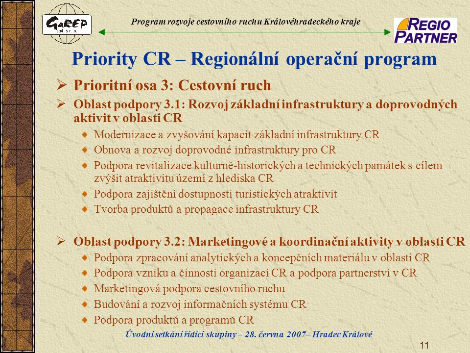 Program rozvoje cestovního ruchu Královéhradeckého kraje Úvodní setkání řídící skupiny – 28. června 2007– Hradec Králové 11 Priority CR – Regionální o