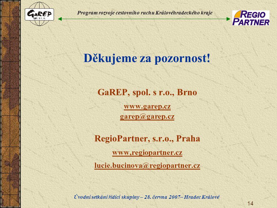 Program rozvoje cestovního ruchu Královéhradeckého kraje Úvodní setkání řídící skupiny – 28. června 2007– Hradec Králové 14 Děkujeme za pozornost! GaR
