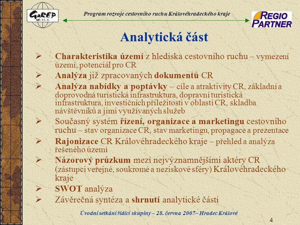 Program rozvoje cestovního ruchu Královéhradeckého kraje Úvodní setkání řídící skupiny – 28. června 2007– Hradec Králové 4 Analytická část  Charakter