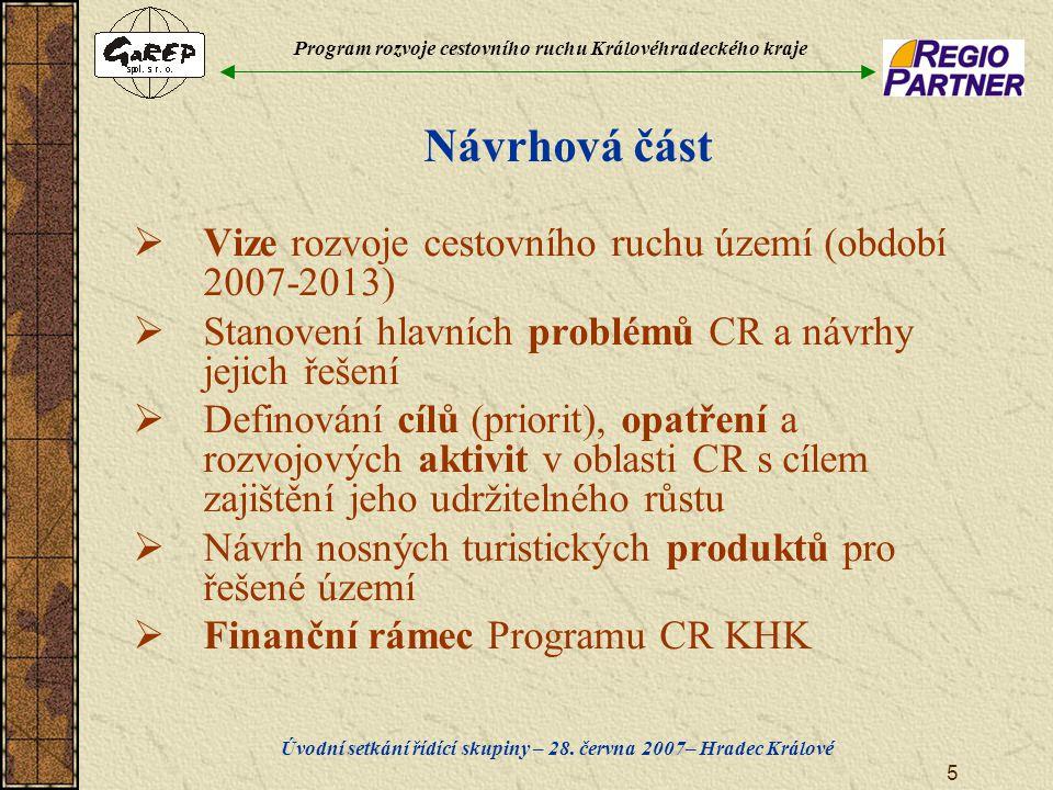 Program rozvoje cestovního ruchu Královéhradeckého kraje Úvodní setkání řídící skupiny – 28. června 2007– Hradec Králové 5 Návrhová část  Vize rozvoj