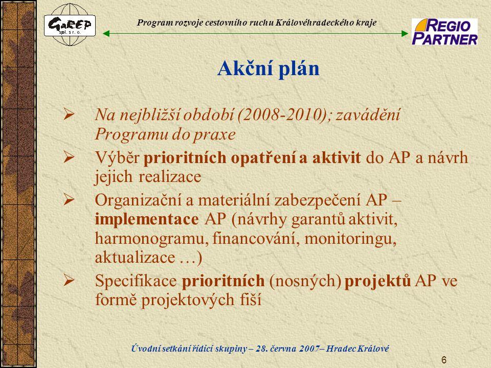Program rozvoje cestovního ruchu Královéhradeckého kraje Úvodní setkání řídící skupiny – 28. června 2007– Hradec Králové 6 Akční plán  Na nejbližší o