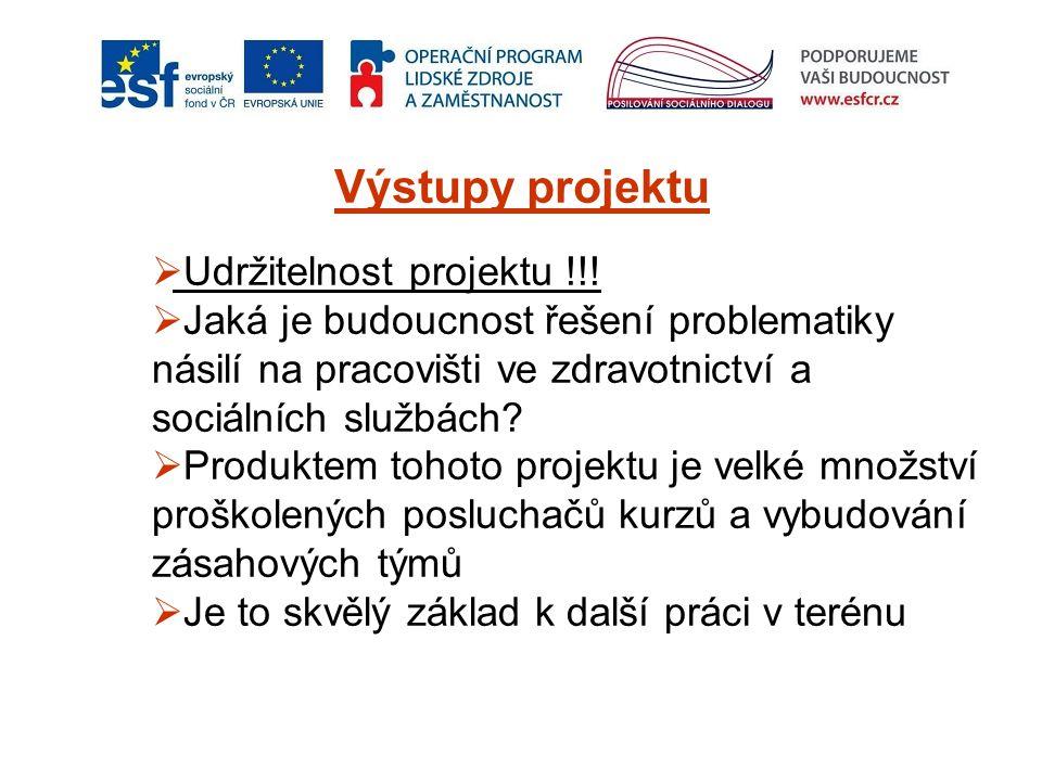 Výstupy projektu  Udržitelnost projektu !!!  Jaká je budoucnost řešení problematiky násilí na pracovišti ve zdravotnictví a sociálních službách?  P
