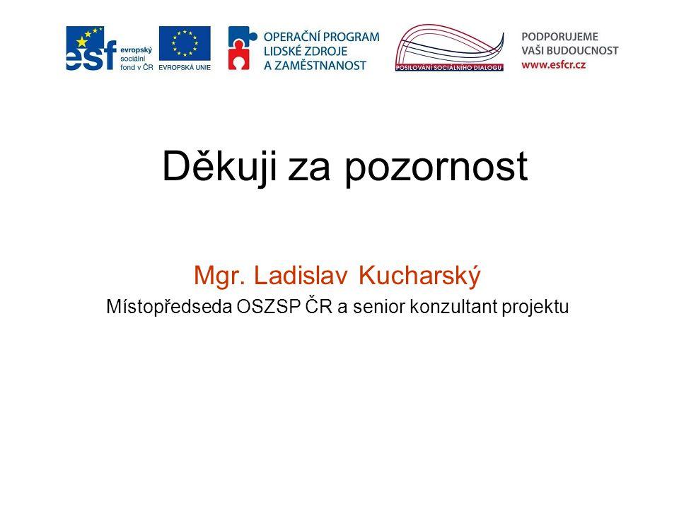 Děkuji za pozornost Mgr. Ladislav Kucharský Místopředseda OSZSP ČR a senior konzultant projektu