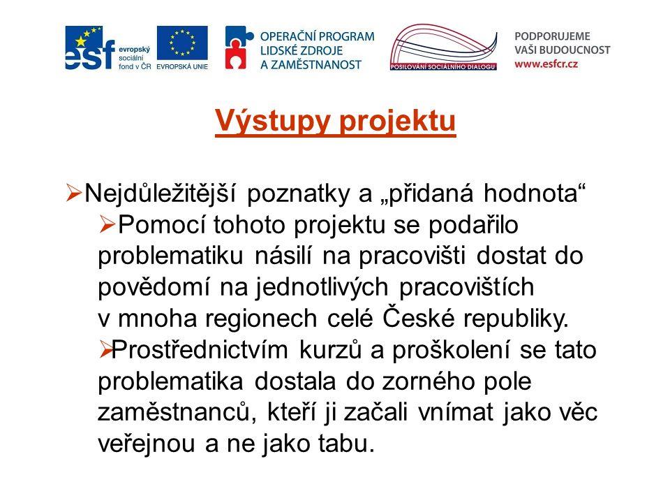 """Výstupy projektu  Nejdůležitější poznatky a """"přidaná hodnota  Pomocí tohoto projektu se podařilo problematiku násilí na pracovišti dostat do povědomí na jednotlivých pracovištích v mnoha regionech celé České republiky."""