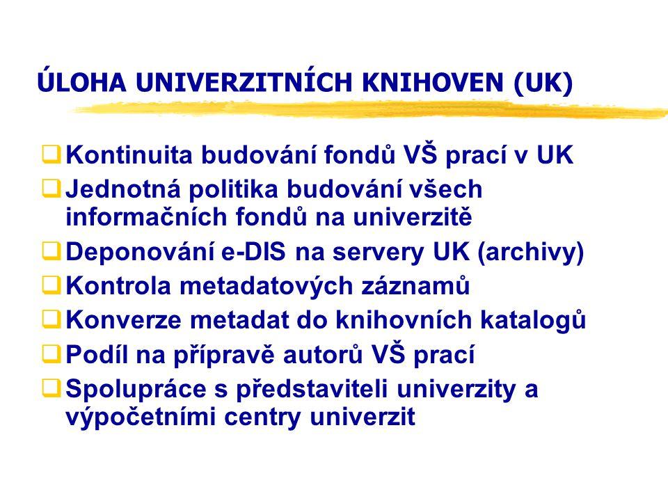 ÚLOHA UNIVERZITNÍCH KNIHOVEN (UK)  Kontinuita budování fondů VŠ prací v UK  Jednotná politika budování všech informačních fondů na univerzitě  Depo