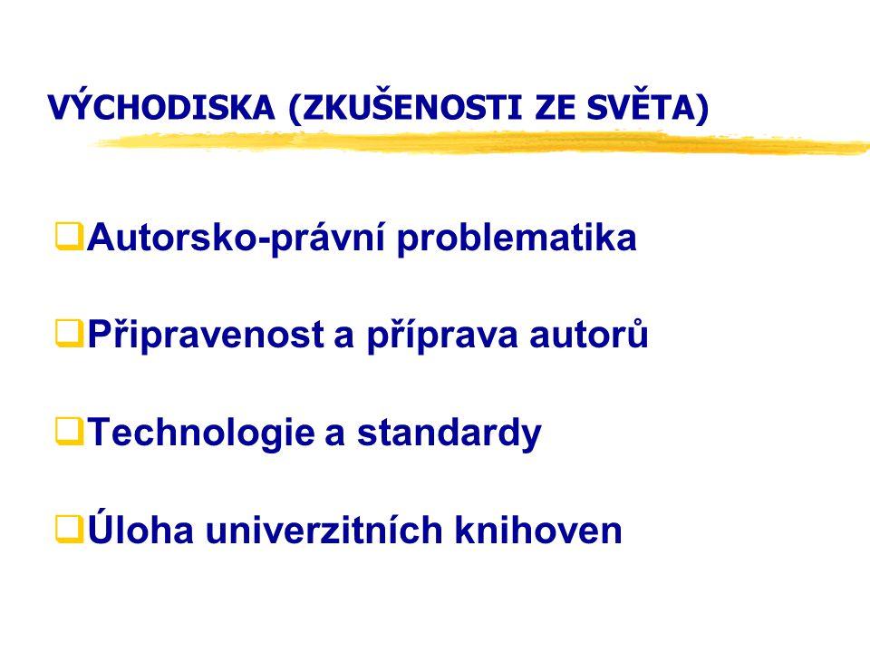VÝCHODISKA (ZKUŠENOSTI ZE SVĚTA)  Autorsko-právní problematika  Připravenost a příprava autorů  Technologie a standardy  Úloha univerzitních knihoven