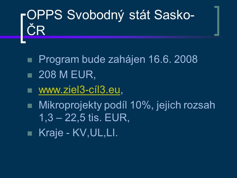 OPPS Svobodný stát Sasko- ČR Program bude zahájen 16.6. 2008 208 M EUR, www.ziel3-cíl3.eu, www.ziel3-cíl3.eu Mikroprojekty podíl 10%, jejich rozsah 1,